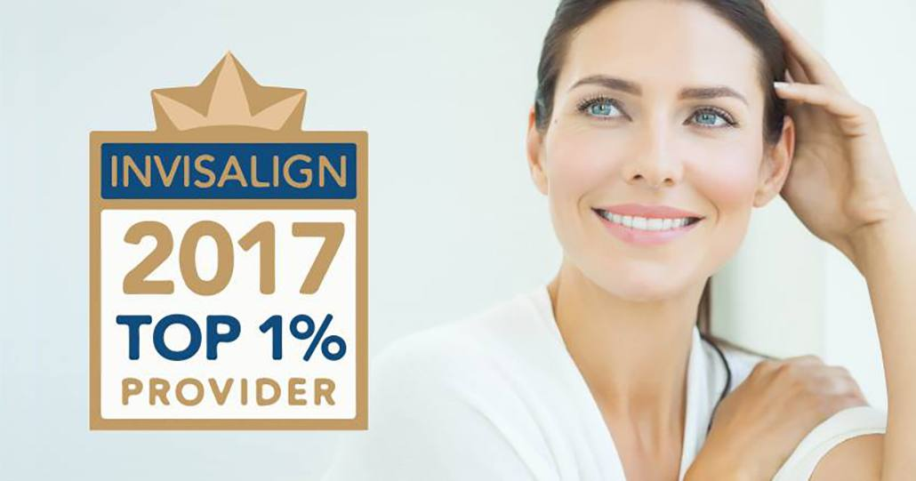 Invisalign award with woman smiling