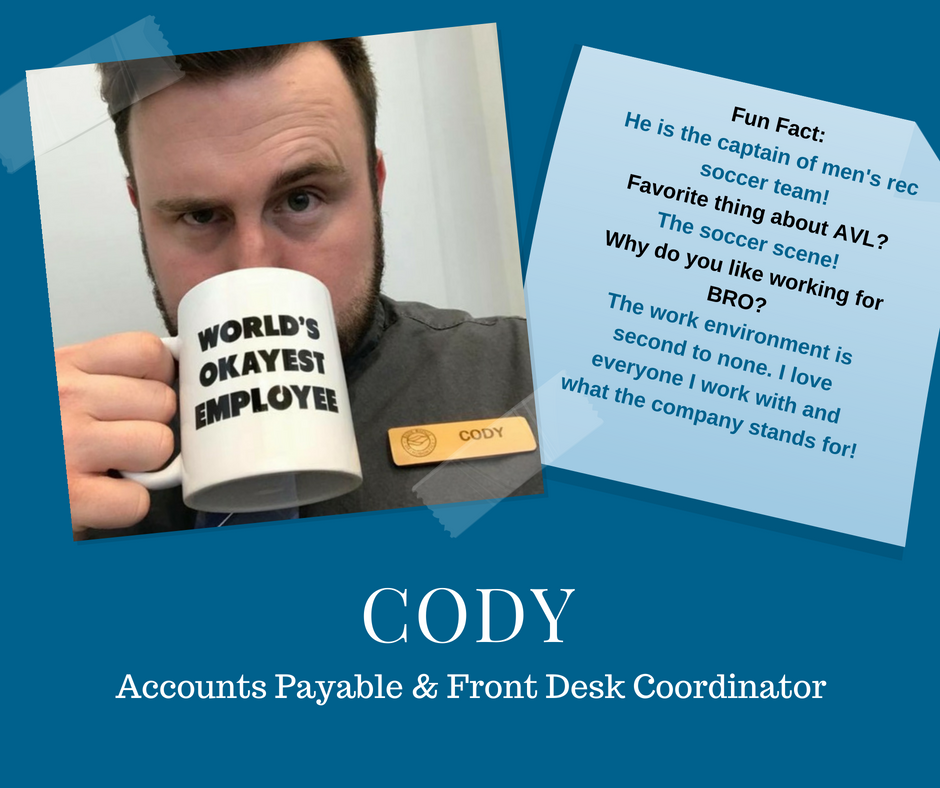 Image of Cody, BRO's Front Desk Coordinator in Asheville