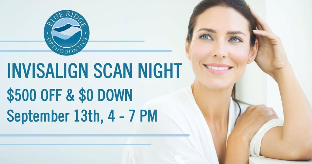 Poster for Invisalign Scan Night event at Blue Ridge Orthodontics in Asheville