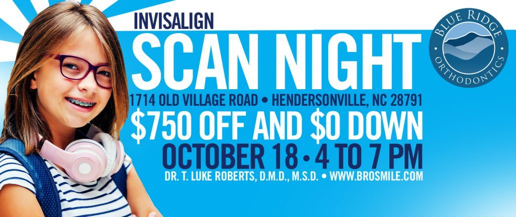 Advertisement for BRO's Invisalign scan night at orthodontic office in Hendersonville