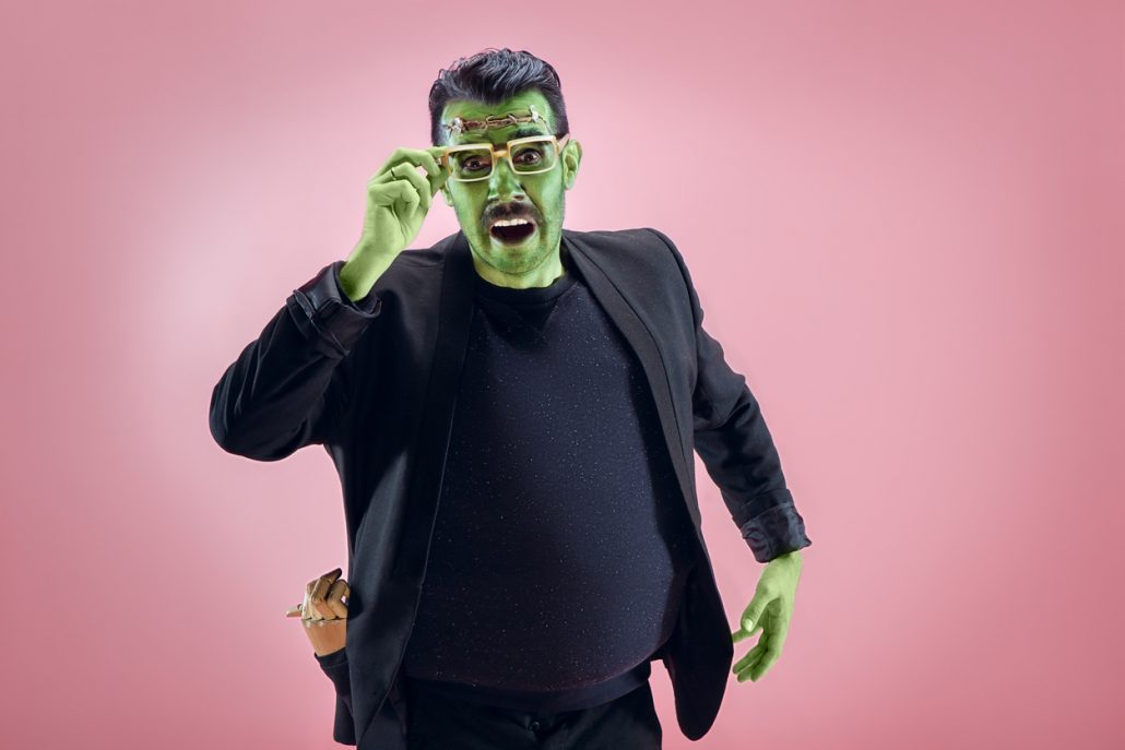 Invisalign patient dressed as Frankenstein for Halloween in Asheville