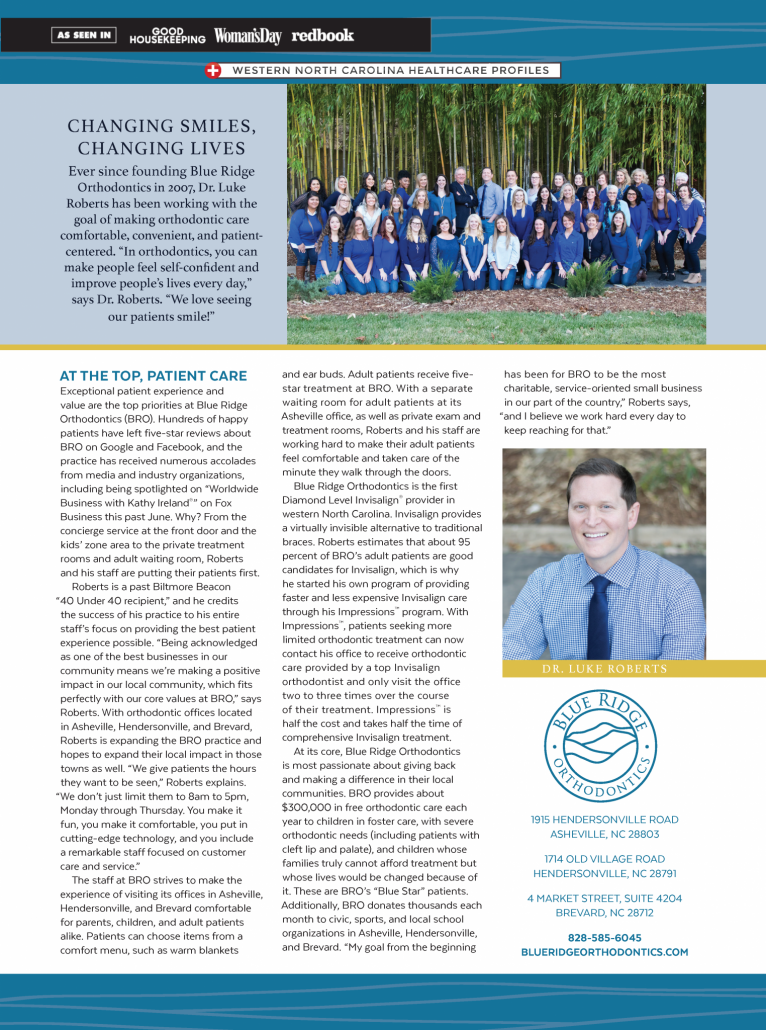 Article about Blue Ridge Orthodontics in Western North Carolina