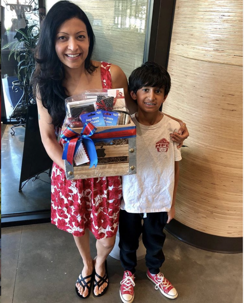 Woman and son who won the first giveaway from BRO in 2019