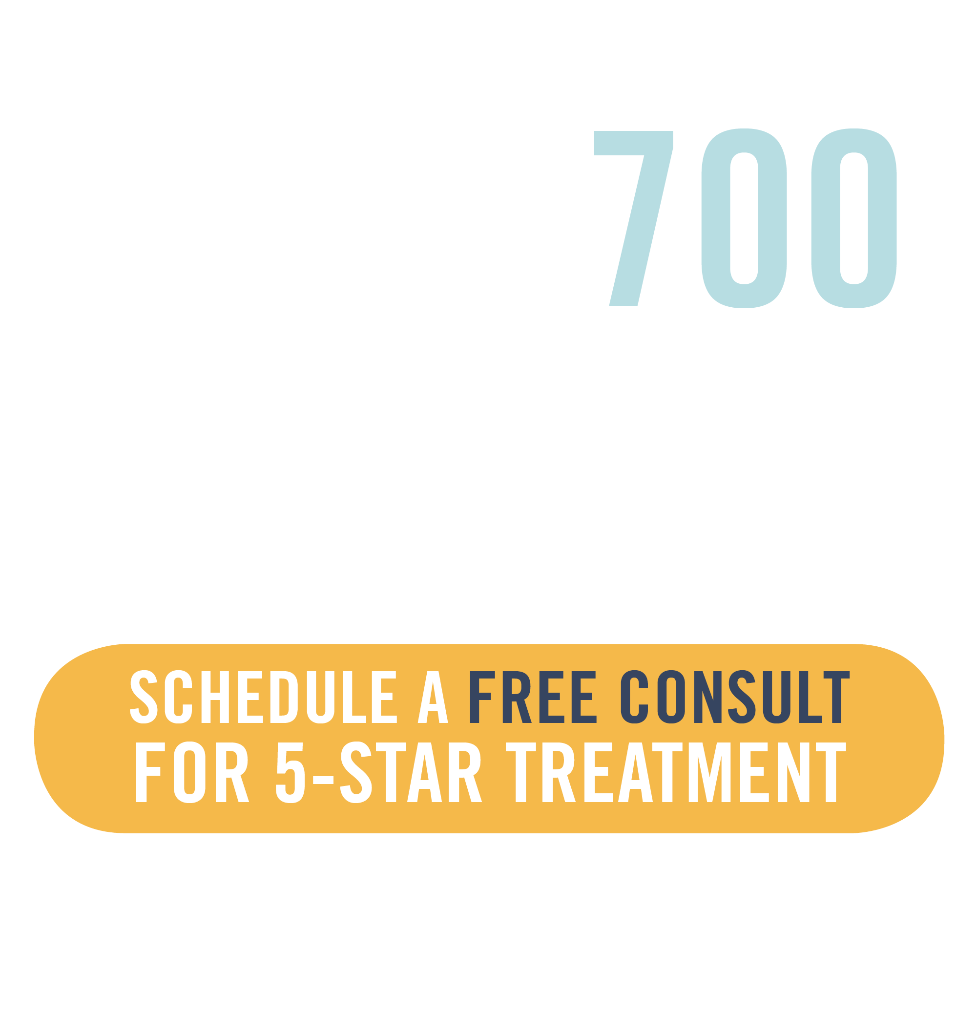Over 700 five star reviews on google